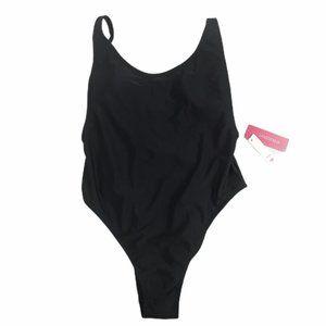 Xhilaration NWT M Womens Black One Piece Swimsuit
